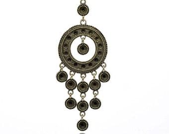 "Antique Bronze Round Circle Pendant or Charm - 8.7x3.2cm (3-3/8""x1-1/4"") for Necklace"