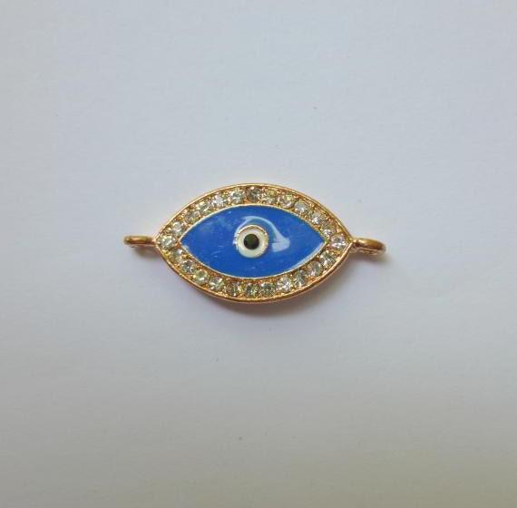 2 Rhinestone Evil Eye Connector or Charm Rose Gold Finsh - Blue Crystal Rhinestones 27 x 15