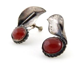 Sterling Silver Coro Carnelian Leaf Earrings - Screw Back Earrings
