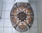 Crochet Toilet Seat Cover - taupe heather/warm brown (TSC9A)