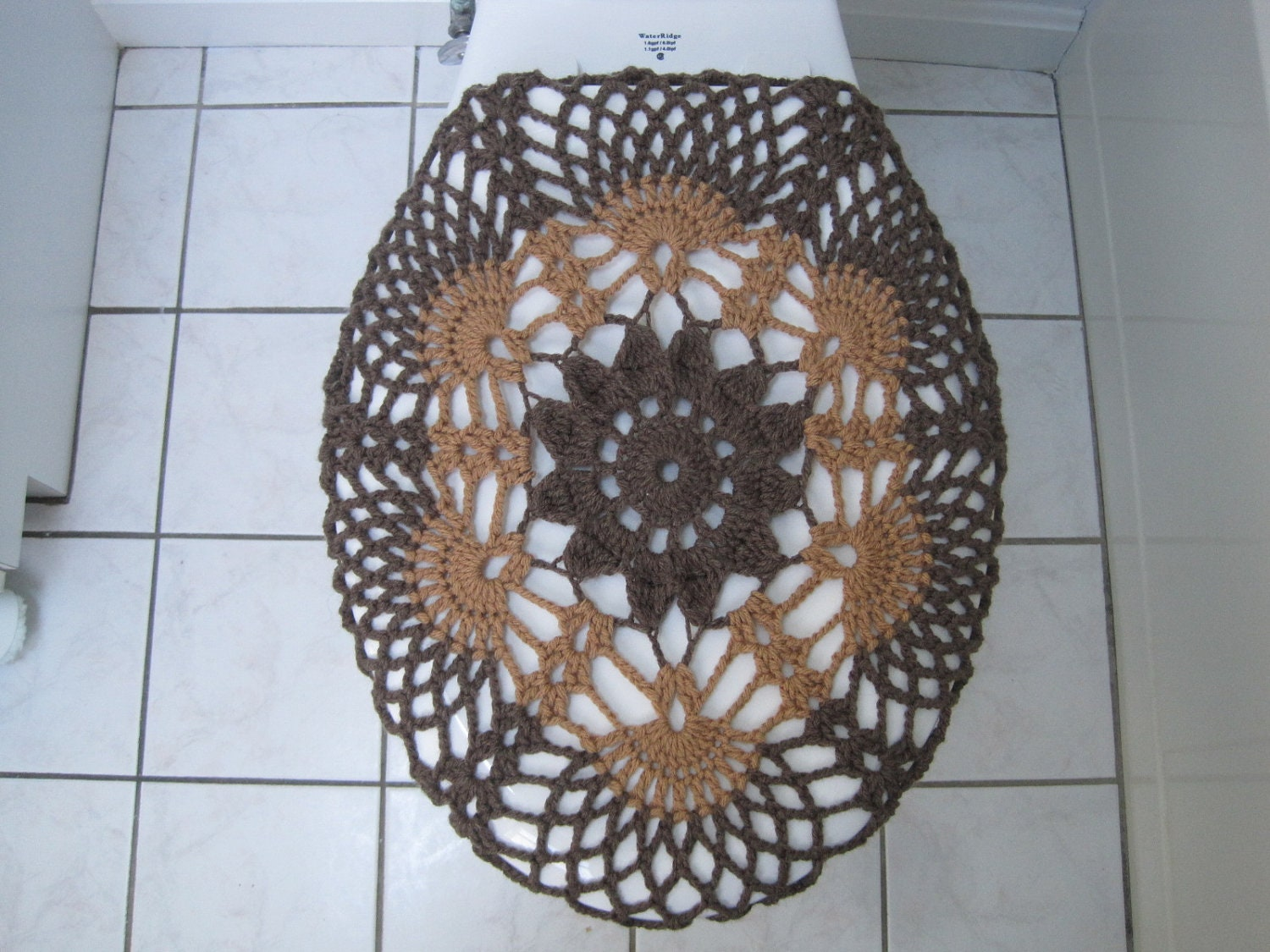 Crochet Toilet Seat Cover Taupe Heather Warm Brown Tsc9a