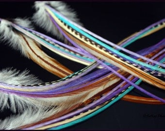 Long Feather Extension Kit Aqua Purple Hair Feathers Bonded Extension DIY Feather Hair Accessories Salon Hair Feather Extension Kit