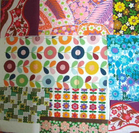 Large stash mixed bright vintage fabric remnants - mod 1960's florals