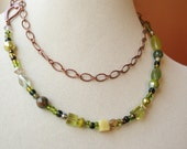 Long 30 inch antique copper chain and green beaded necklace