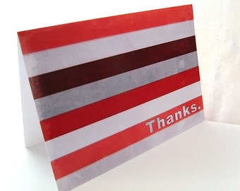 Red and Grey Stripes - Blank 4x5.5 Thank You Note Card, Single or Set of 4 - Crimson Scarlet Gray - Retro 1950s Mens Ombre