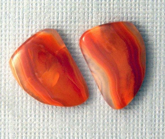 Orange Agate Cabochon Pair  - Hand Cut Freeform Gemstone Designer Cabochons - Earring Pair