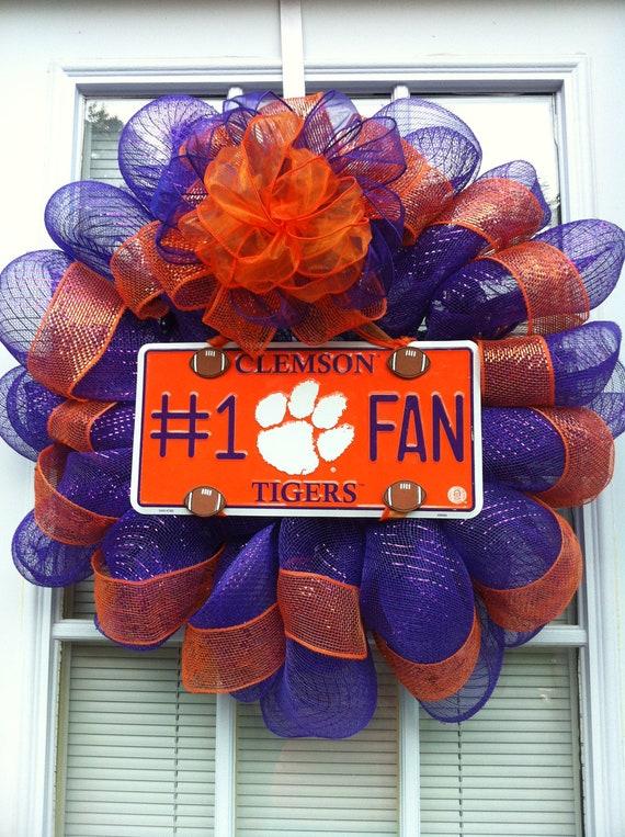 Clemson Tigers Number 1 Fan Mesh Wreath