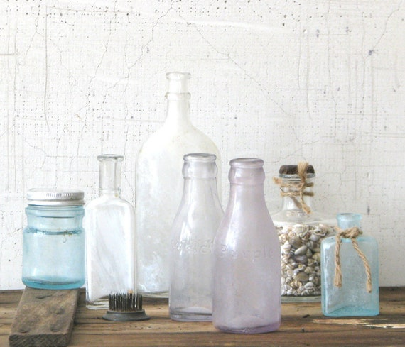 vintage clear and purple glass bottles - welch's grape juice juniors cottage shabby chic modern farmhouse decor kitchen display vase