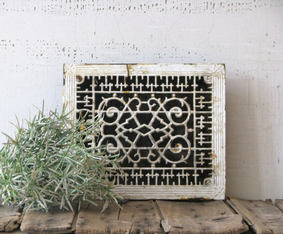 cast iron heating grate white paint - urban farmhouse style - shelf display scrolled iron work