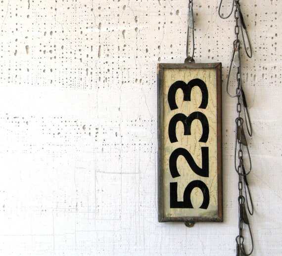 vintage house number - copper back & sides - heavy weight - very modern farmhouse cool