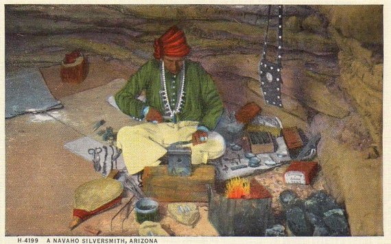 Navaho silversmith - Fred Harvey linen postcard  H-4199