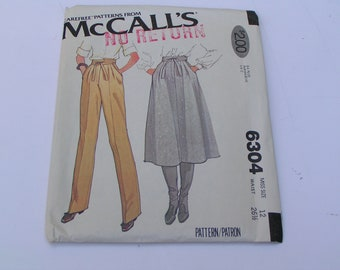 Vintage McCalls Pattern 6304 Pants and Skirt