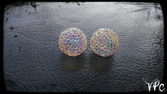 Ultra Sparkle Gem Earrings (  LARGE Ball Shape)(WHITE)