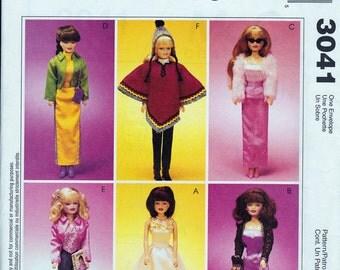 Fashion Doll Clothing Patterns - 11.5 inch - McCalls 3041 - Sewing Patterns - Doll Clothes Pattern - Doll Dress, Skirt, Jacket, Pants, Hat
