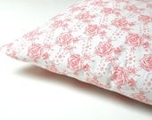 antique french pillow case, pillow sham, vintage pillow cover, vintage bedding, pink roses, shabby chic - minoucbrocante