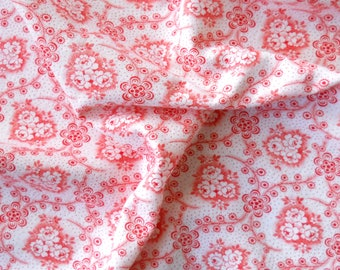 vintage fabric french fabric floral antique fabric patchwork quilting red flowers cotton fabric 107