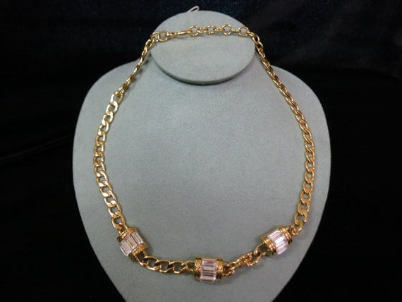 Signed Napier Cable Chain And Baguette Necklace