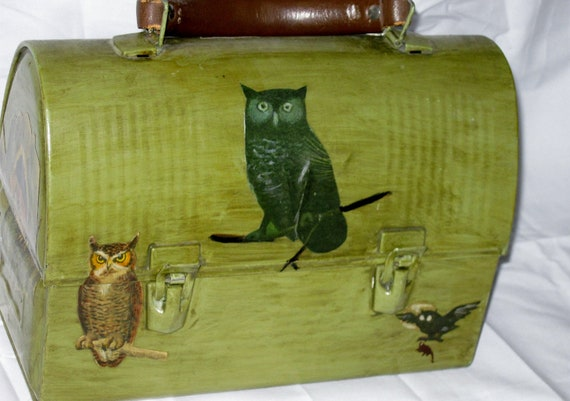 RESERVED Vintage Old Metal Handpainted Owl Decoupage Lunchbox