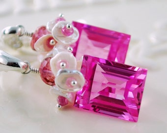 Pink Topaz Earrings Wedding Jewelry Genuine Ruby Gemstone Keishi Pearls Sterling Silver Wire Wrapped - Pink Sky - Complimentary Shipping