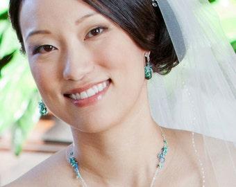 Gemstone Necklace, Green Amethyst Prasiolite London Blue Topaz Apatite, Gold or Silver, Beach Bridal Jewelry - Caribbean Sea - Free Shipping