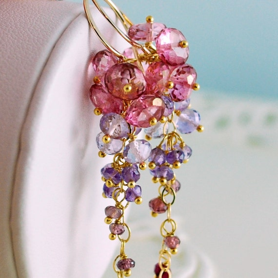 Bridal Earrings Gemstone Pink Topaz Purple Amethyst Rhodolite Red Ruby Cluster Wedding Jewelry - Trailing Rose - Complimentary Shipping