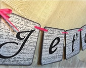 """JE T'AIME """" Wedding Chipboard Sign - Garland, Banner, Pennant - White and Black - French Style theme -  Bright Pink"""