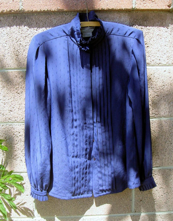 FINAL SALE Vintage 80s Ladies Petite Small Blue Long Sleve silky Polyester Secretary Blouse