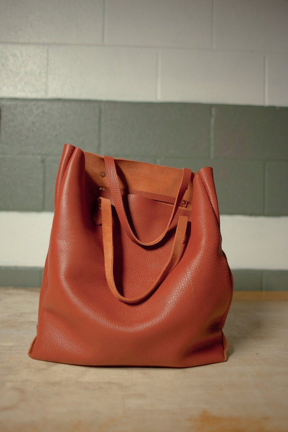 Hand Sewn Leather Tote (Slouchy Orange)