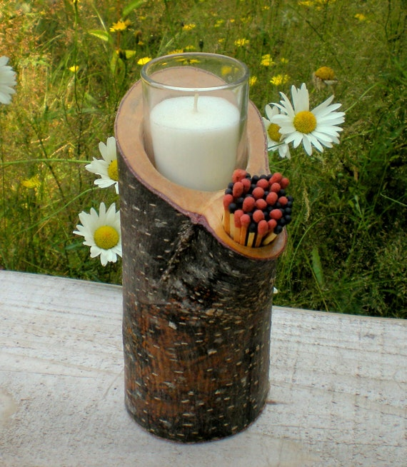 Tall Rustic Wooden Votive Candleholder with Matches - OOAK