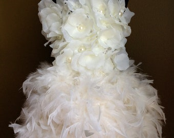 Birthday Surprise Couture Ivory Feather skirt and lace top infant toddler (more color available)