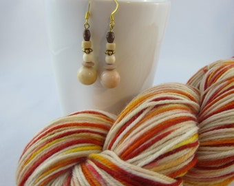 Knitting gift set: Rothko's Reds and earrings, hand dyed sock yarn with beaded earrings, merino nylon, variegated, Rothko, knitting gift