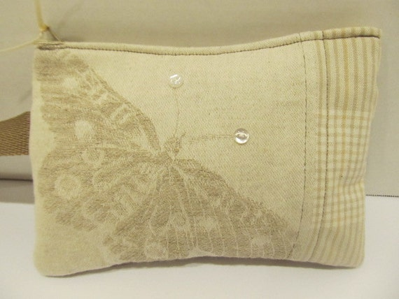 Butterfly Wristlet in Cream and Tan with Buttons