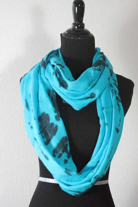 """Tie Dyed Rayon Circular  Infinity Scarf Navy,Turquoise and Black,  77"""" round by 21"""" wide, Ready to Ship"""