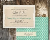 Engagement Announcement - Teal Blue Card
