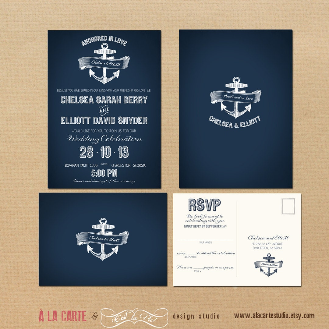 Nautical Themed Wedding Invitations: Nautical Anchor Wedding Invitation And RSVP By Alacartepaperie
