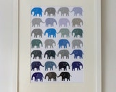 Navy Blue & Grey Elephants Nursery Print - Unisex Christening Baby Shower Gift Boys Gray. Available in A4, A3, 8 x 10 and 11 x 14 prints