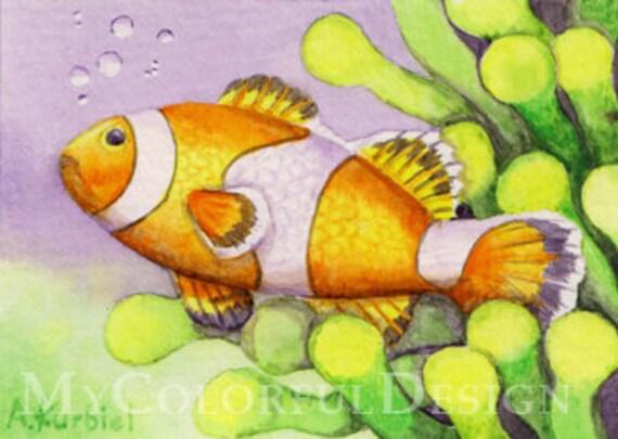 Clown Fish - ACEO original watercolor