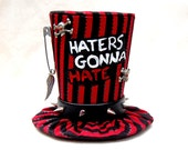 Tiny Top Hat: Haters Gonna Hate - Black Silver Red Skull and cross bones punk rock rocker gothic goth wings burlesque kawaii cosplay