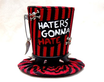 Tiny Top Hat: Haters Gonna Hate Red - Black Silver Red Skull and cross bones punk rock rocker gothic goth wings burlesque kawaii cosplay