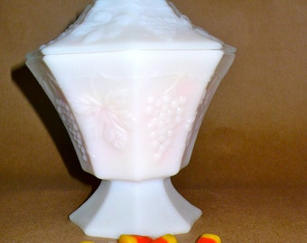 Vintage Anchor Hocking Milk Glass Paneled Covered Candy with Grapes and Leaves
