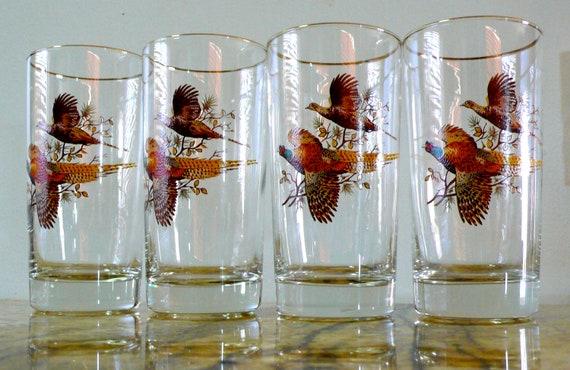 Vintage pheasant glassware, barware bird hunting, pheasant, bird glasses tumblers