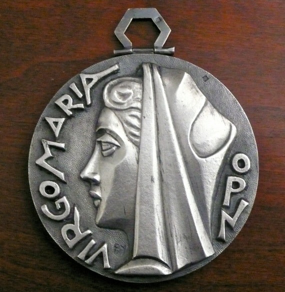 Reserve for NIck Clark  Do Not But Virgo Maria OPN Medal, Medallion Pendant By French Artist Denis Fernand Py (1887-1949) Free Shipping