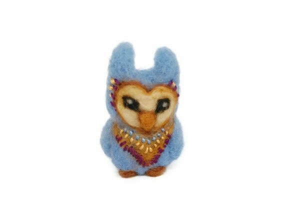 Miniature Owl Sculpture, Needle Felted Amigurumi Bird Soft Sculpture (Aztec Owl)
