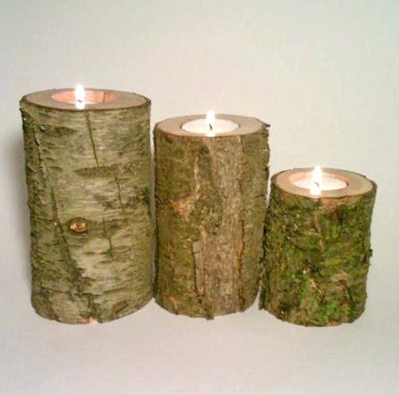 Items similar to log tealight candle holder rustic decor