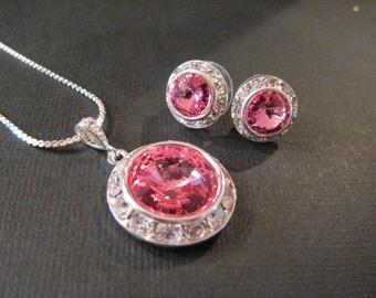 Rose Swarovski Crystal Bridesmaid Jewelry Set/ Bridal Jewelry/ Bridesmaid Jewelry/ Wedding Jewelry