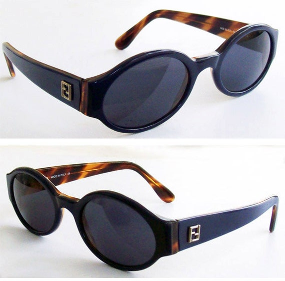 Vintage Fendi Navy Blue Oval Sunglasses Mod. 7570. Made in Italy,  medium size, women, mint.