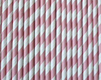 Soft Pink and White Striped Paper Straws