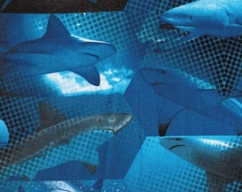 1/2 yard Benartex fabric BLUE SHARK