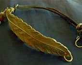 Large Gold Feather Bracelet with Double Leather Strap
