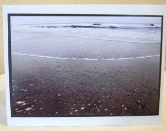 photo card, Huntington Beach, seashells in the sand, ocean